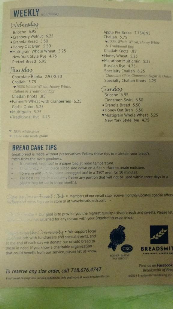 Breadsmith List Back