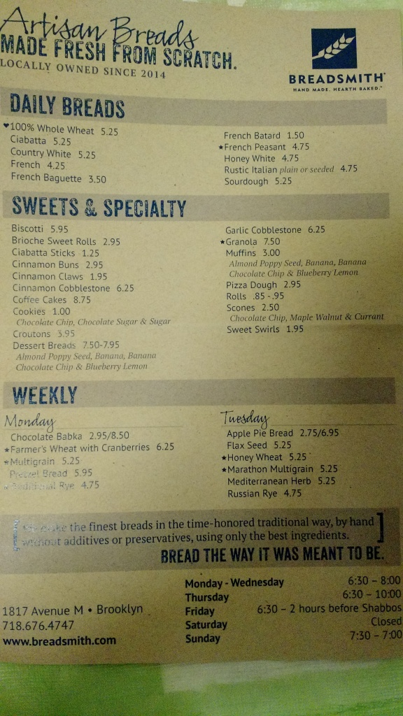 Daily Breads, Sweets & Specialties, and Monday/Tuesday specials.